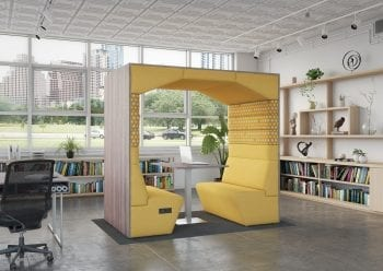 office pod with laminated outside back and power outlets