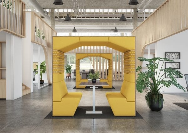 yellow office pod with power outlets