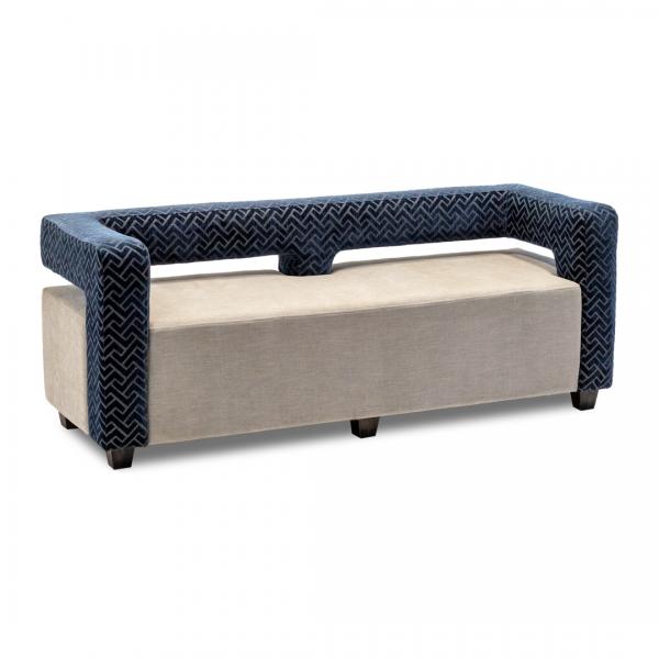 blue velvet contemporary sofa exposed back